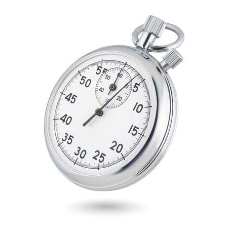 Classic metallic chrome mechanical analog stopwatch isolated on white background. Standard-Bild