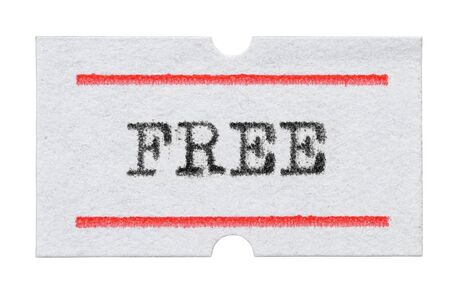FREE word printed with typewriter font on price tag sticker isolated on white background