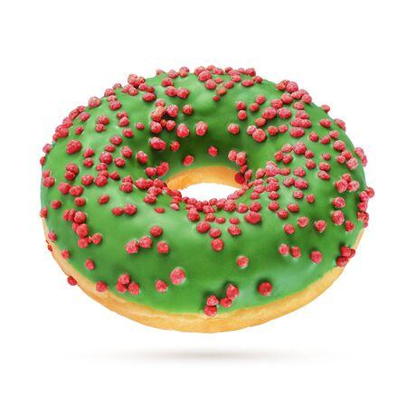 Green glazed round donut isolated on white background. Side view 版權商用圖片