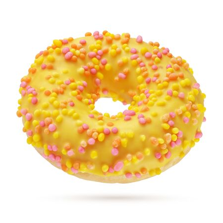 Yellow glazed round donut isolated on white background. Side view
