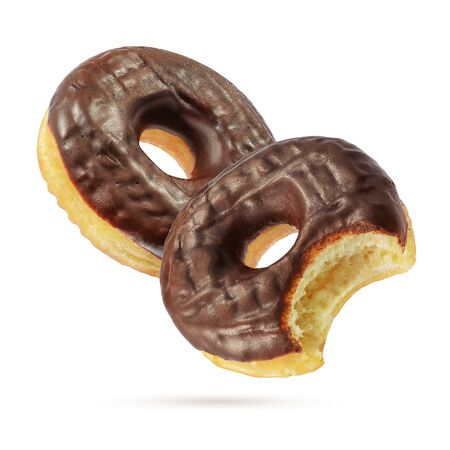 Two classic chocolate donuts isolated on white background