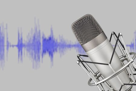 Silver colored condenser microphone on background with waveform. Sound recording concept
