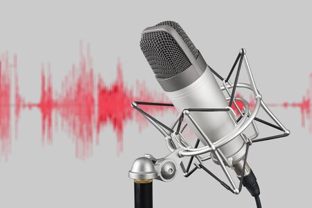 Silver colored condenser microphone on background with waveform. Sound recording concept Imagens