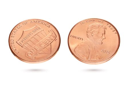Both sides of one US cent or penny coin isolated on white background Stock Photo