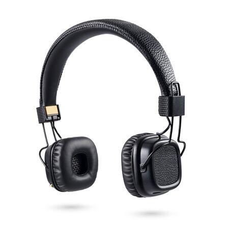 Wireless black on-ear headphones isolated on white background Stockfoto
