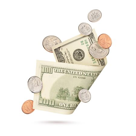 Hundred dollar bill and different cent coins isolated on a white background.