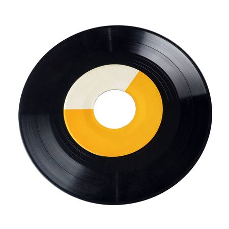 Wide-hole 7-inch vinyl record isolated on white background
