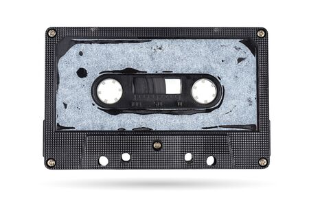 Old audio tape compact cassette isolated on white background