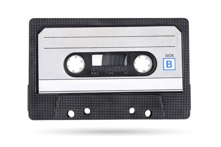 Old black audio tape compact cassette isolated on white background with clipping path Foto de archivo