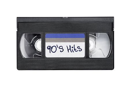 Black video tape cassette record with 90's hits text isolated on white background. Stock Photo
