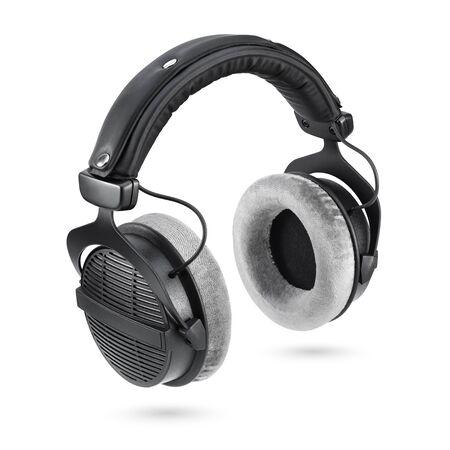 Earphones. Black studio over-ear open back headphones isolated on white background Stock Photo