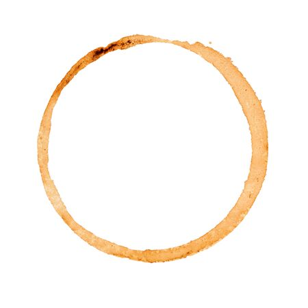 Brown coffee cup stain isolated on white background. Top view.