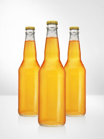 Beer bottles with long neck on white background. Mock-up design presentation.
