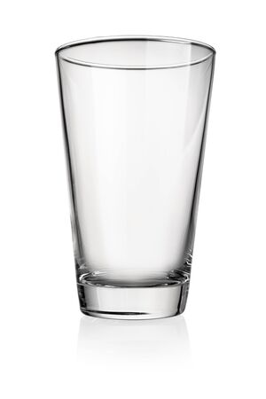 Empty glass for water, juice or milk isolated on white background with clipping path Banque d'images