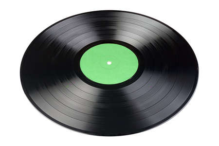12-inch LP vinyl record with blank green label isolated on white background