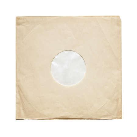 Aged yellow paper inner sleeve for vinyl LP records isolated on white background Standard-Bild