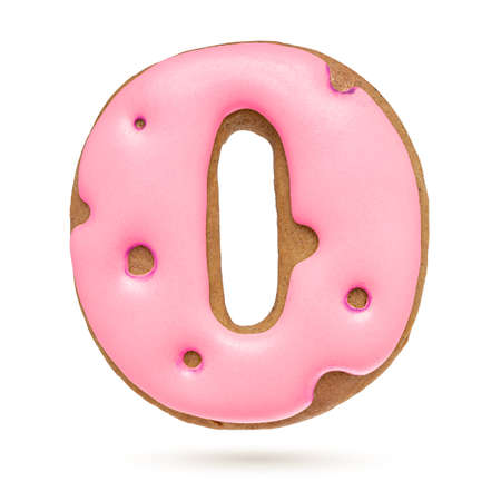 Capital letter O. Pink gingerbread biscuit isolated on white background. Christmas decoration