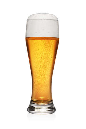 Full glass of light yellow beer isolated on white background.