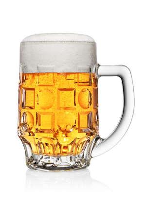 Full mug of light yellow beer isolated on white background Foto de archivo
