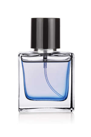 Elegant transparent clean bottle of blue perfume isolated on a white background