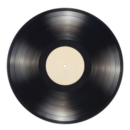 12-inch LP vinyl record with blank label isolated on white background