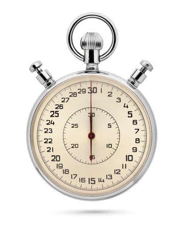 Classic metallic mechanical analog stopwatch isolated on white background.