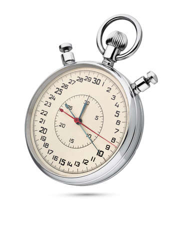 Classic mechanical analog stopwatch isolated on white background with clipping path.