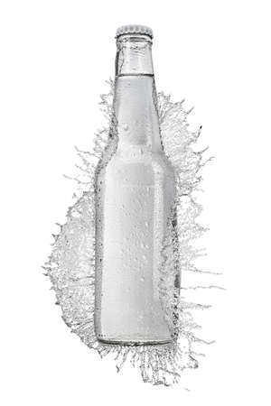 Transparent glass bottle without label with still water in splash isolated on white background.
