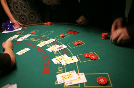 Black jack in casino Stock Photo