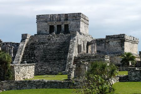 Mayan ancient ruin in archaeological site of Tulum, Mexico   Stock Photo