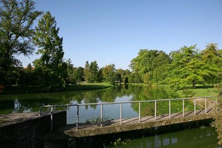 Lake in park, castle in  Lednice Stock Photo - 7033679