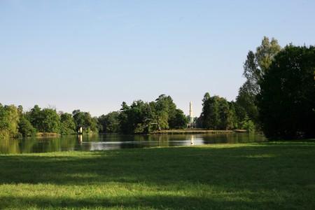 Lake in park, castle in  Lednice Stock Photo - 7033668
