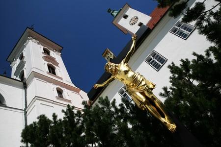 jezus: Crucifix in front of Church of Virgin Mary birth in Vranov near Brno