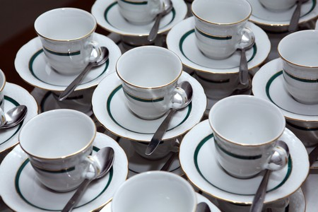 White porcelain tea cups with gold decoration Stock Photo - 7406365