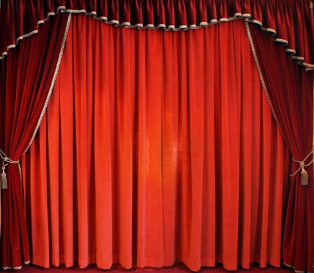 The traditional red theatre curtain photo
