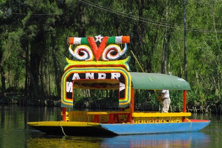 Floating garden on boat in Mexico city, Xochimilco Lizenzfreie Bilder