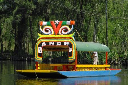 Floating garden on boat in Mexico city, Xochimilco Stock Photo
