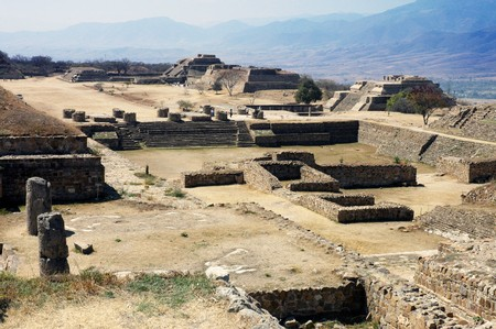 Ancient ruins on Monte Alban in Mexico