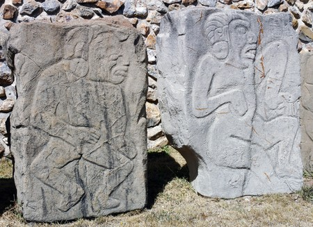ccloseup: Detial of relief in ancient ruins on Monte Alban in Mexico