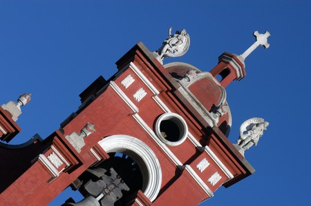 Detail of cathedral in Oaxaca city in Mexico Stock Photo