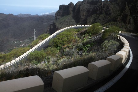 Road through the hills on  the Canary Islands