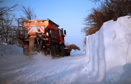 Yellow Schneepflug Reinigung der Straße