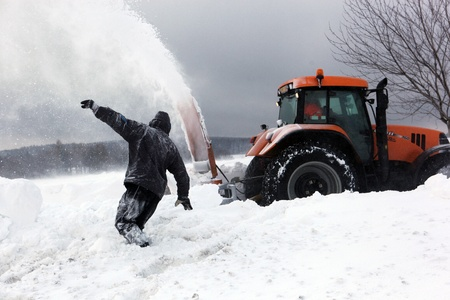 PROTIVANOV, CZECH REPUBLIC, 14 FEBRUARY: Strong winds and snow caused the disaster on the roads near Protivanov by Prostejov on 16th February, 2012, in the Czech Republic. Stock Photo - 12754472