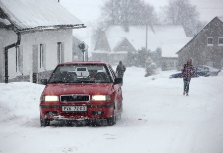 PROTIVANOV, CZECH REPUBLIC, 14 FEBRUARY: Strong winds and snow caused the disaster on the roads near Protivanov by Prostejov on 16th February, 2012, in the Czech Republic. Stock Photo - 12754455