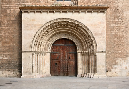 sandblasted: Entrance to the historic Cathedral in Valencia