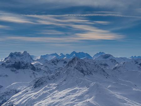 Berge in der Parsenn-Gebiet, Skigebiet Weissfluhgipfel in Davos, Schweiz