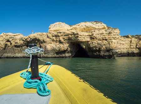the mainland: A view of the mainland from a boat near the Algarve coast in Portugal, 2016 Stock Photo