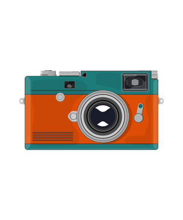 retro camera with green-orange body on white background Standard-Bild - 119969441