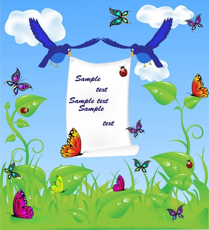 spring meadow background , blue birds and colorful butterflies Stock Vector - 8464685