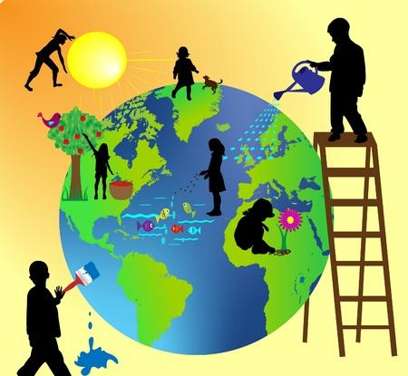 felices los niños que cuidar del planeta tierra con amor Ilustración de vector